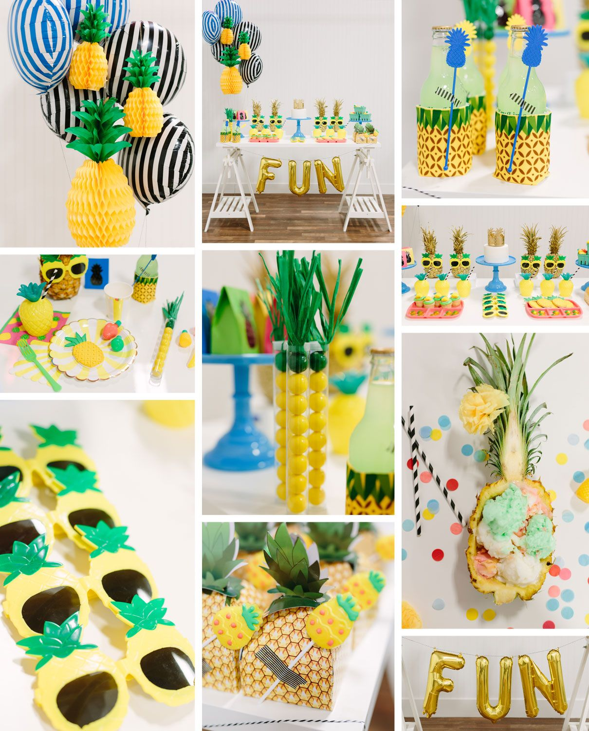 Pineapple party themed parties rounding and summer for Ananas dekoration