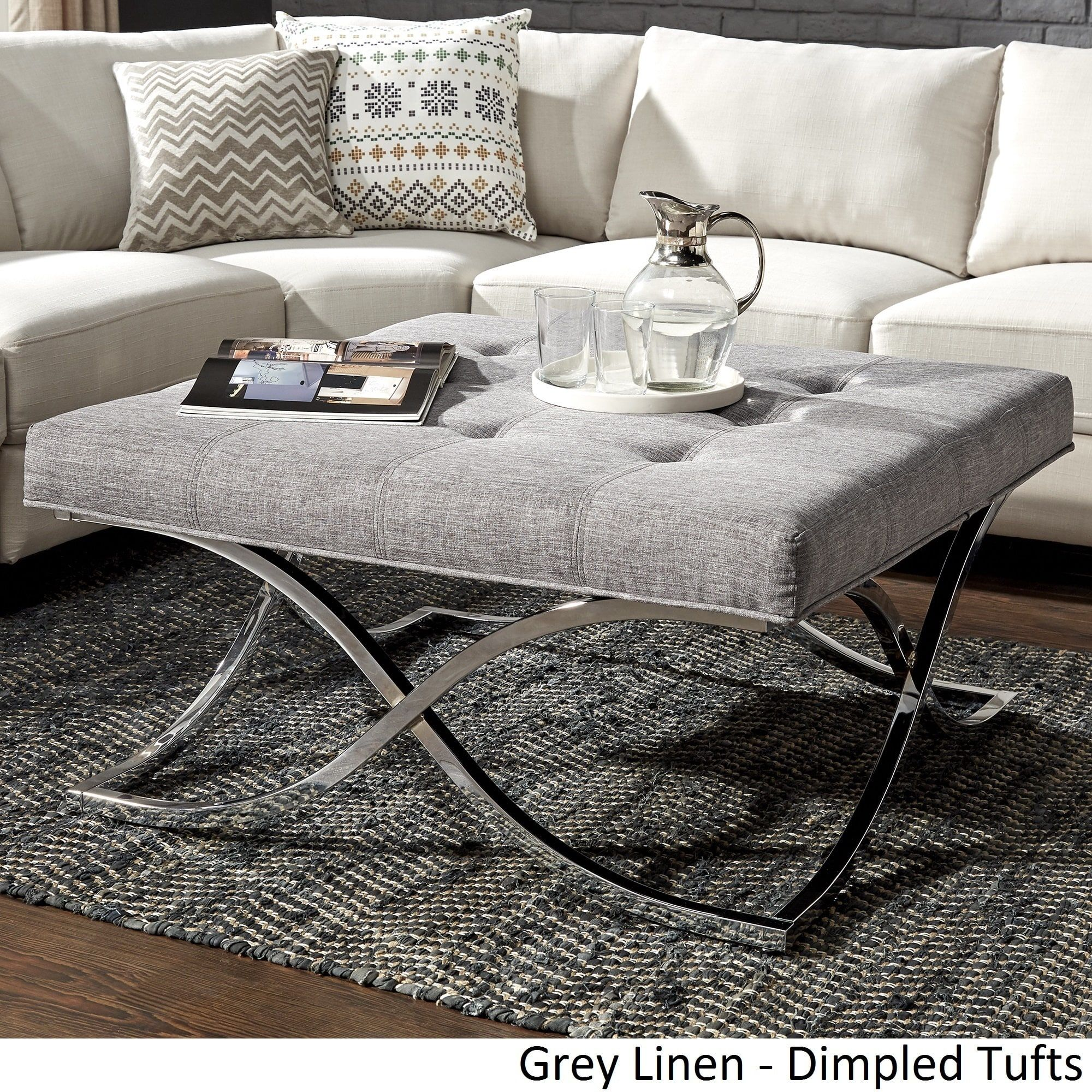 Solene X Base Square Ottoman Coffee Table - Chrome by iNSPIRE Q Bold  ([Beige Linen]- Smooth Top), Brown, Size Large (Fabric)