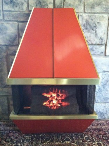 Vtg Mid Century Modern Orange Dyna Flame Electric Log Heater Fireplace Can Ship Ebay