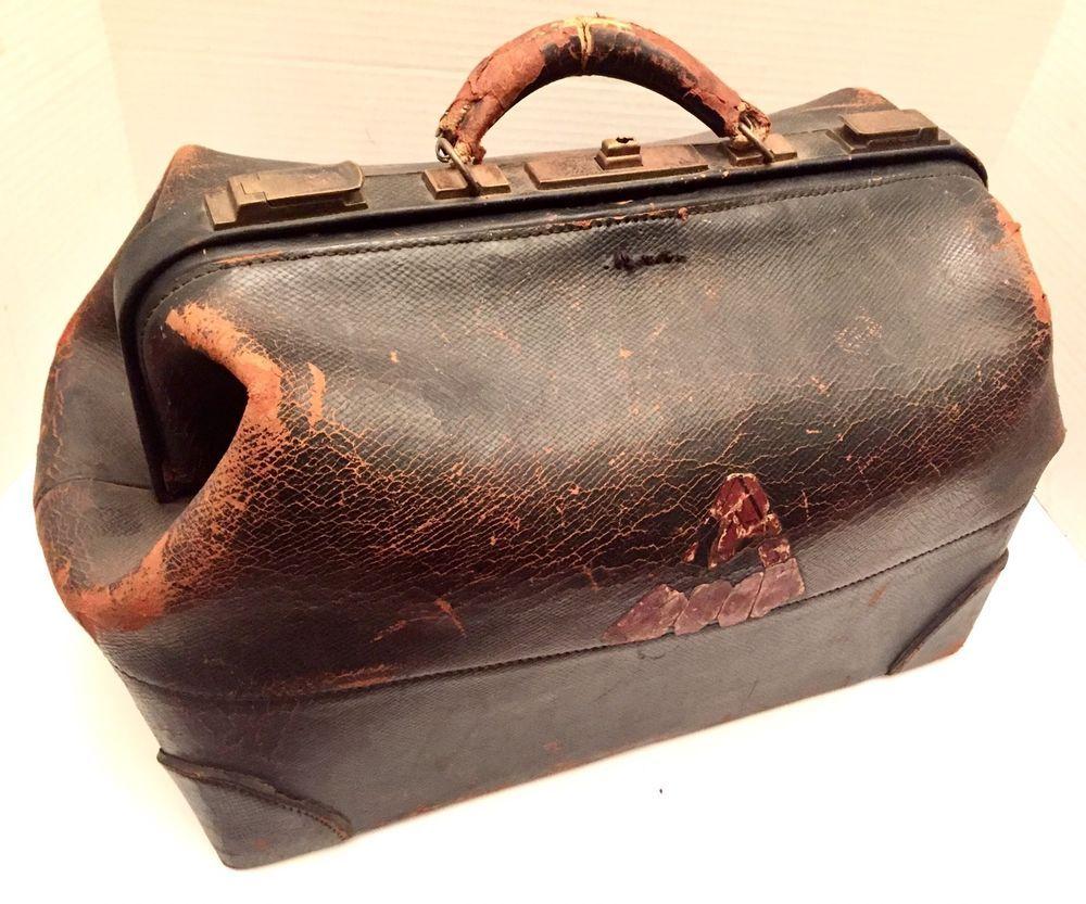 7d39e847ae835 Antique Doctor Bag Worcester Academy MA c1870 Black Leather Walrus? Old  Medicine | eBay