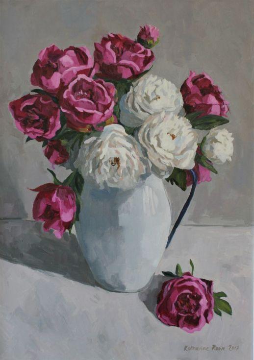 Buy Peonies In Enamel Jug, Oil Painting By Katharine Rowe On Artfinder.  Discover Thousands