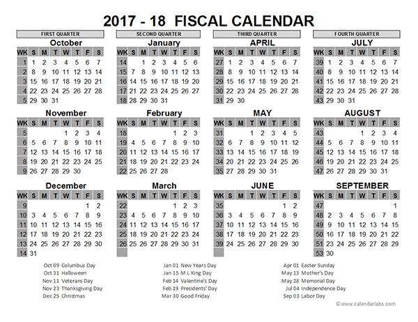 2017 Fiscal Year Calendar My