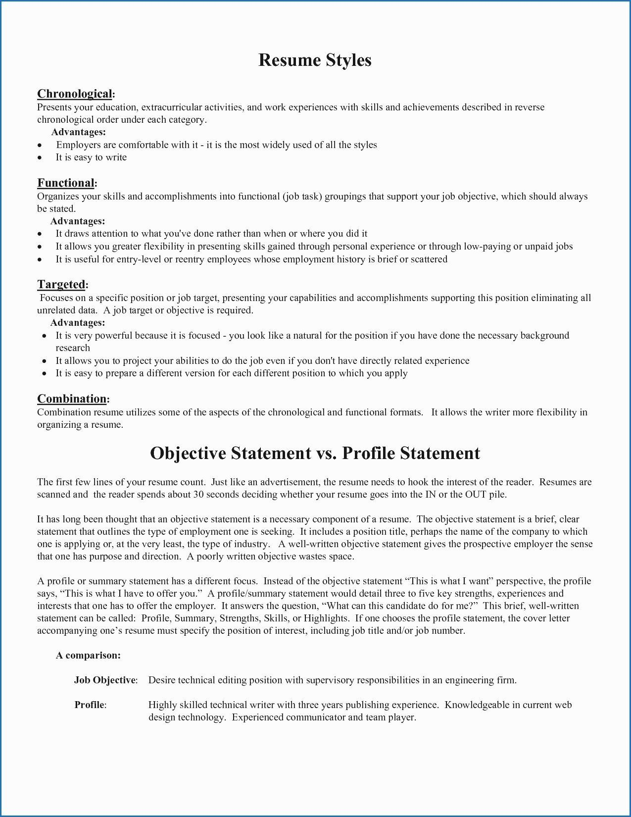 Resume Summary Vs Objective Inspirational Cv Profile