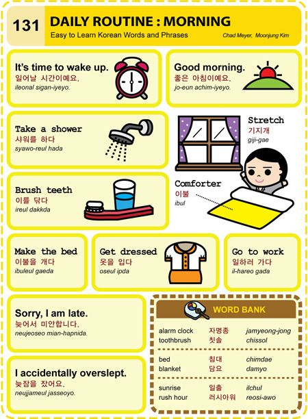 Easy To Learn Korean 131 Daily Routine Morning Vocab Language Lessons Essay In German