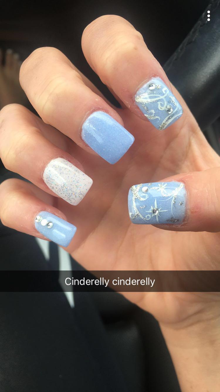 Cinderella Cinderellanails Disney Disneyinspired Nails Acrylicnails Blue Lightblue Diamonds Glitter Squa Blue Nail Designs Silver Nails Nail Designs