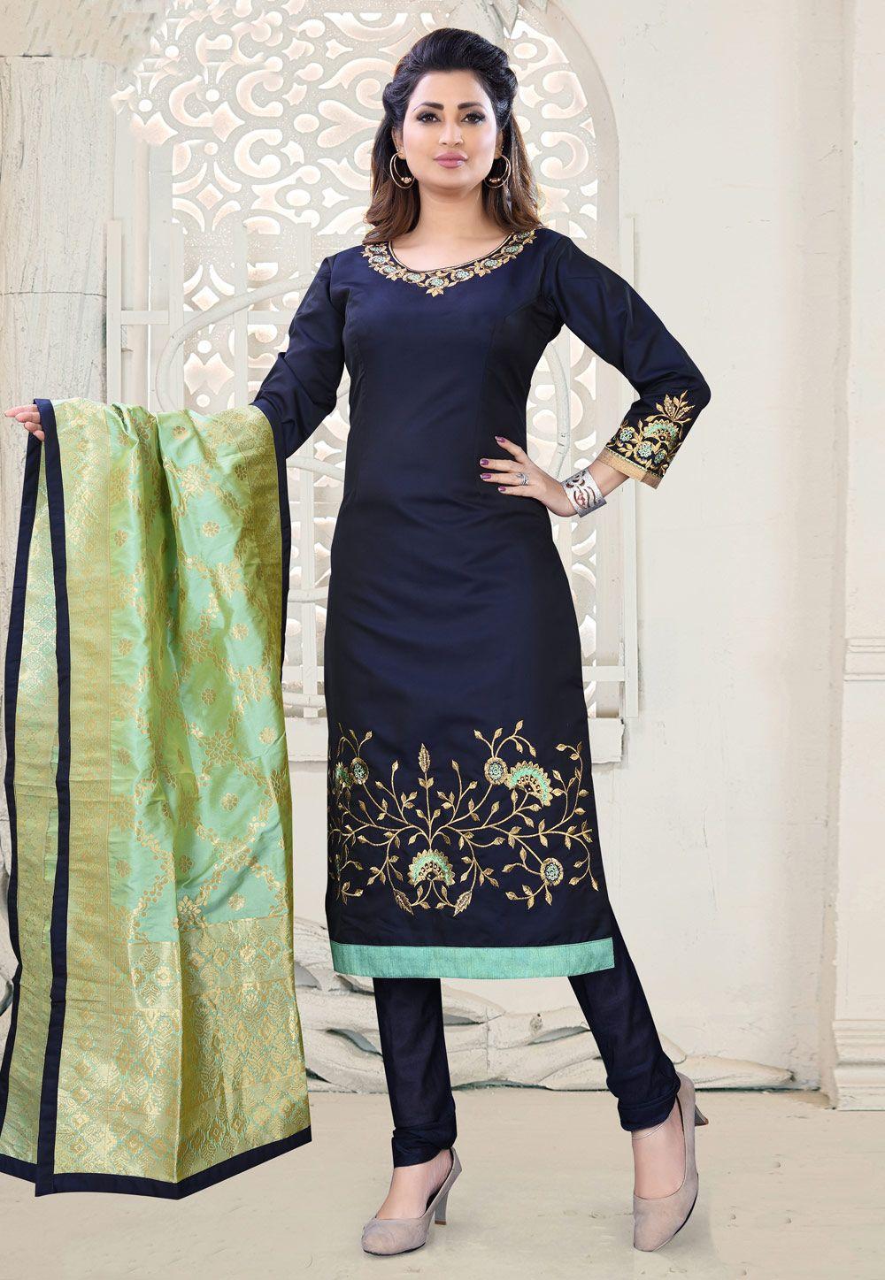 daca2a1943 Buy Navy Blue Cotton Silk Readymade Churidar Salwar Kameez 156553 online at  lowest price from huge collection of salwar kameez at Indianclothstore.com.