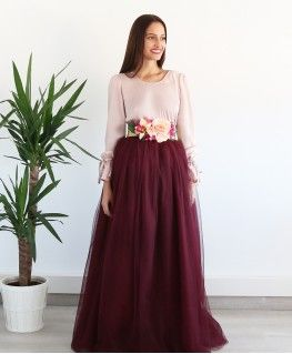 8b779251c Falda Carrie Larga Granate | Boda | Faldas de tul, Traje de falda y ...