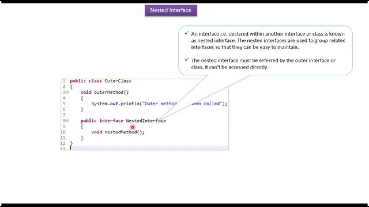Java Tutorial Java Nested Interface Inside Class Java