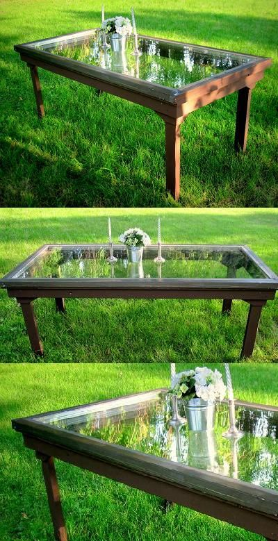 Repurpose Reuse I Made A Table From Our Old Patio Door With The