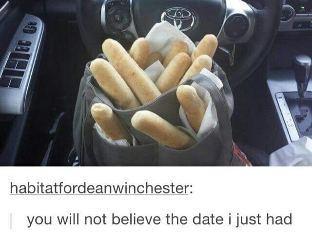 Tell me after I'm done shoving breadsticks into my purse