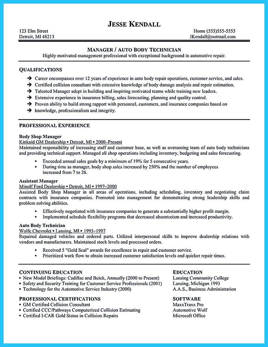 body shop resume examples