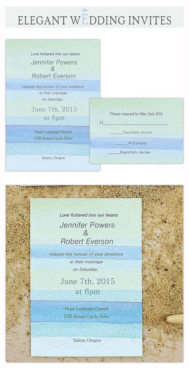 Printable Watercolor Beach Summer Wedding Invitations Ewi391 Beach