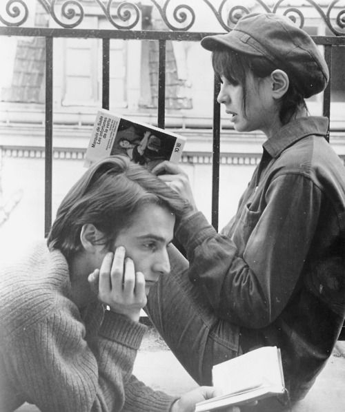 Jean-Pierre Léaud and Juliet Berto on the set of Jean-Luc Godard's La Chinoise (1967).
