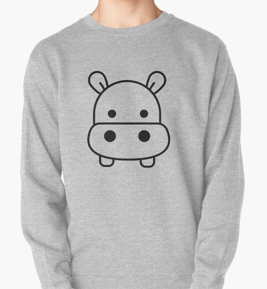Handdrawn Outline Linear Hipopotamus Hippo Animal Pullover Sweatshirt By Pinelemon How To Draw Hands Hippo Tiger Kids [ 975 x 900 Pixel ]