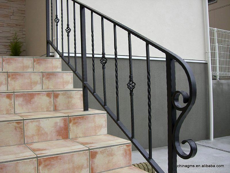Railings for stairs exterior stair railing staircase - Exterior wrought iron handrails for steps ...