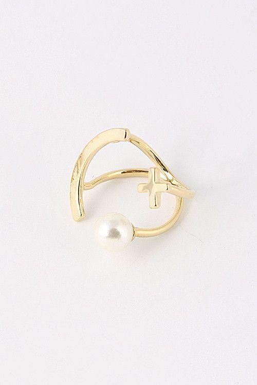 Pearl X Cuff Ring