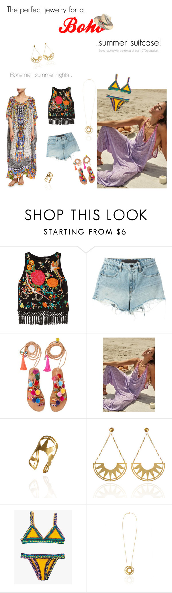 """""""The perfect jewelry for a boho summer suitcase!"""" by blingsense ❤ liked on Polyvore featuring Alice + Olivia, Alexander Wang, Muzungu Sisters, kiini, Camilla, Summer, boho and jewelry"""