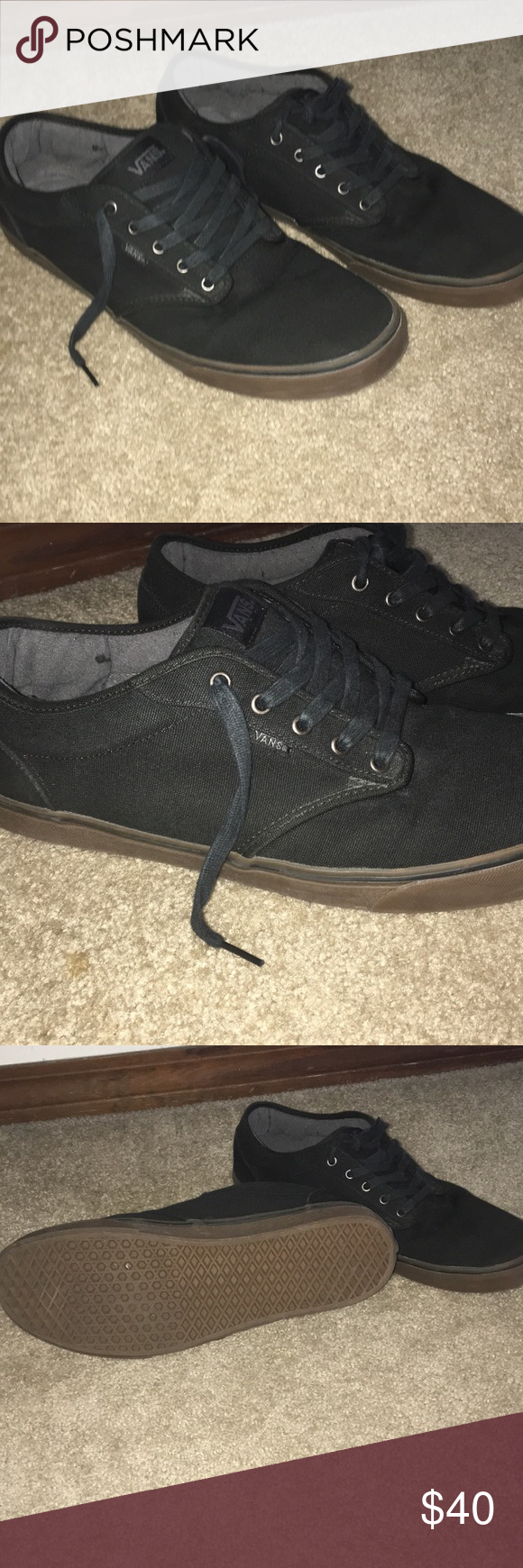 Men s black vans Black vans with brown sole. Worn only once in perfect  condition Vans Shoes Sneakers b98764ced