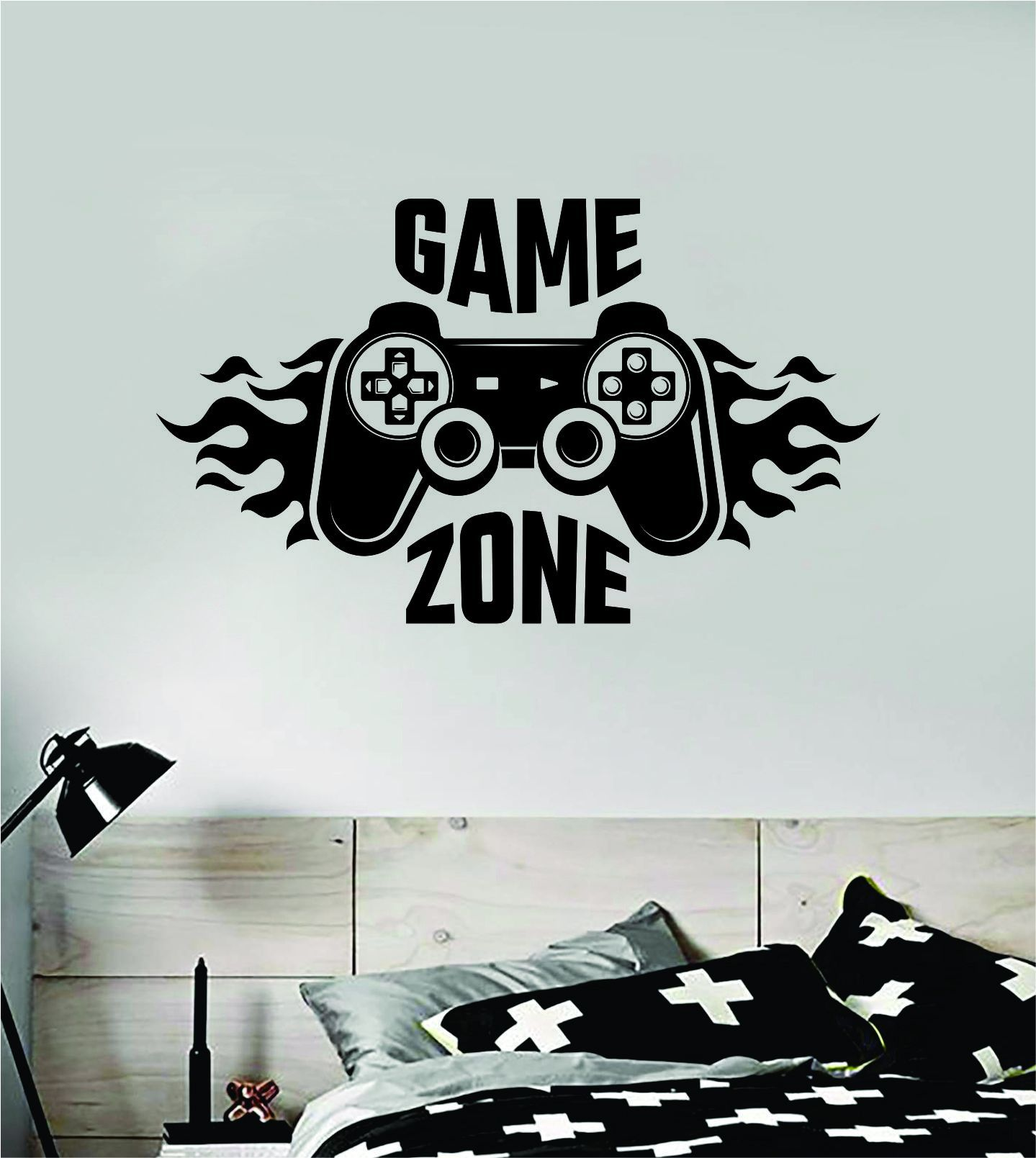 """Game ZoneThe latest in home decorating. Beautiful wall vinyl decals, that are simple to apply, are a great accent piece for any room, come in an array of colors, and are a cheap alternative to a custom paint job.Default color is black MEASUREMENTS: 28"""" x 16 1/2"""" About Our Wall Decals:* Each decal is made of high quality, self-adhesive and waterproof vinyl.* Our vinyl is rated to last 7 years outdoors and even longer indoors.* Decals can be applied to any clean, smooth and flat surface. Put them"""