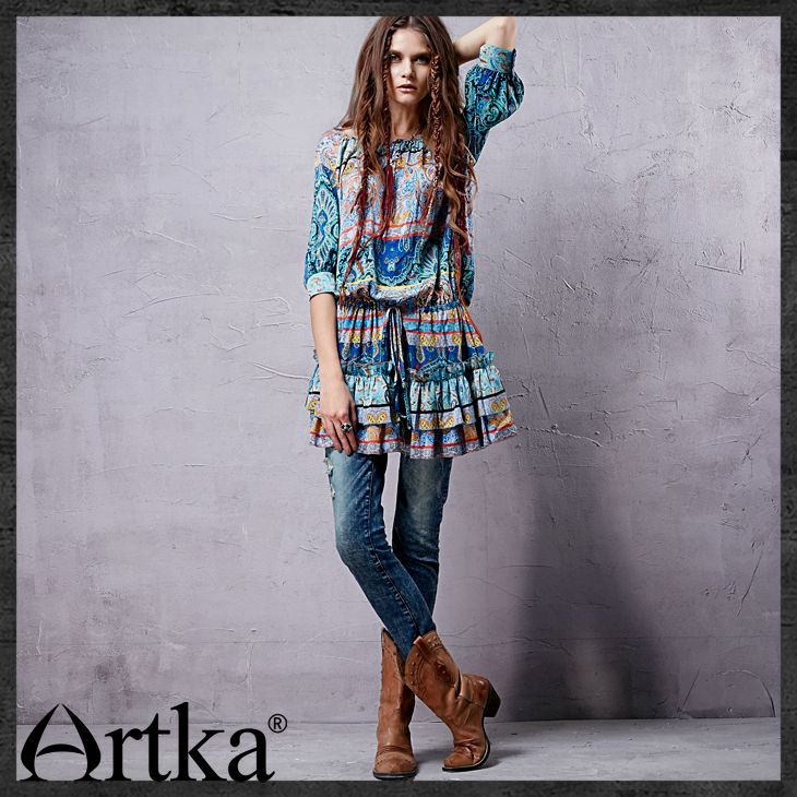 Artka Women's Spring Three Quarter Sleeve Scoop Neck Gathered Waistline Retro Ethnic Pattern Silk Chiffon Dress LA10130Q