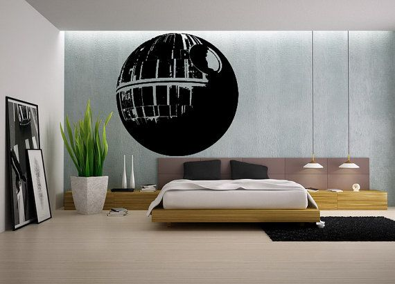 Death Star Wall Decal Gamer Gifts For Him Star Wars Wall Print - Custom cut vinyl wall decals