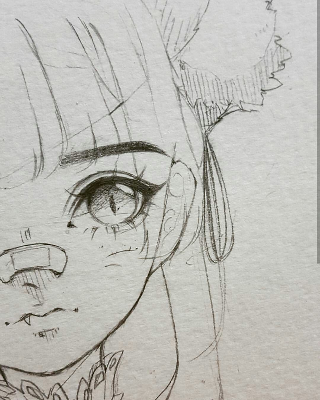 Cute girl with pony tail and nose bandage anime chibi eyes bangs manga drawing realistic