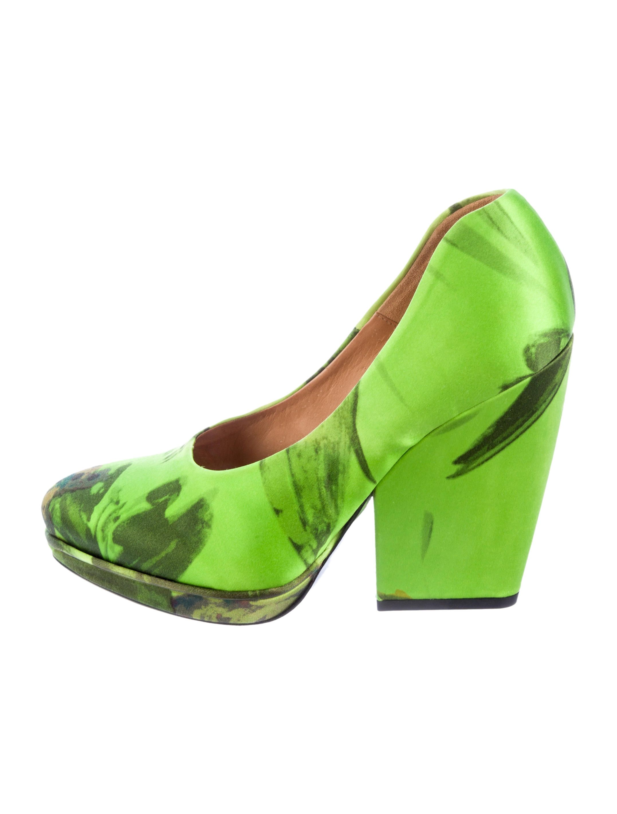 8263ca314d54 Green Van Chunky Printed Dries Pumps Satin With Noten Platform rrva8q5x