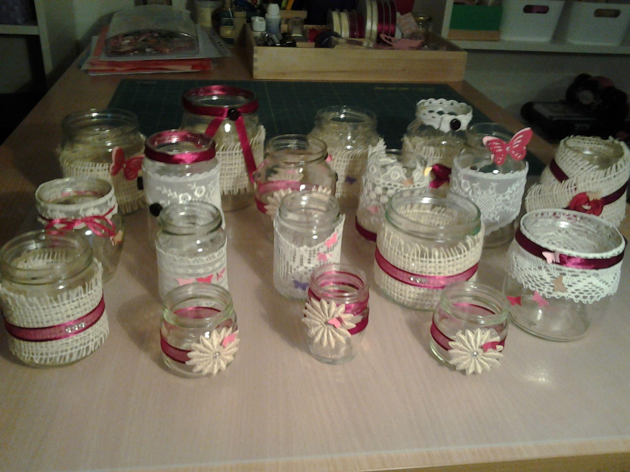 Vasetti di vetro decorati con pizzi bottoni nastri e tanta fantasia bomboniere favors - Bicchieri decorati per natale ...