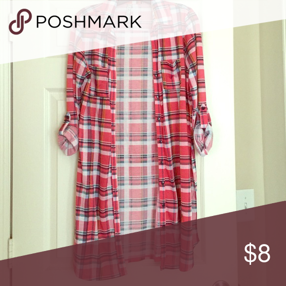 RnB Pink Plaid Dress NEVER WORN!!! Pink plaid button down dress! Great for the upcoming fall season to pair with brown boots!!! RnB Dresses Long Sleeve