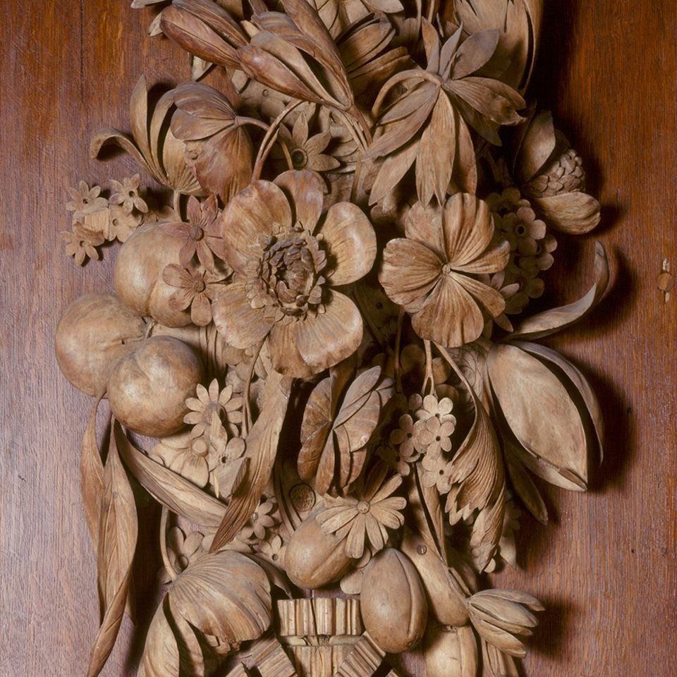 Grinling Gibbons Carving of intricate fruit, flowers and animals for William III's remodelled Hampton Court Palace