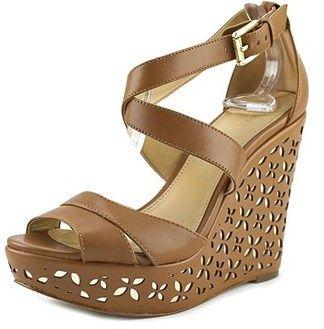 004b16e7cb6 MICHAEL Michael Kors Sienna Wedge Women Open Toe Leather Brown Wedge Sandal.