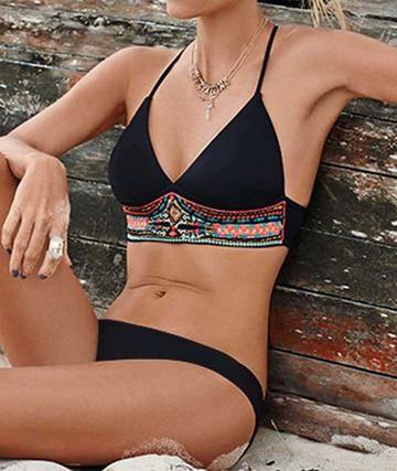 Women's Bikini Set-Push Up Swimsuit Print Fringe Bikini Beach Swimwear Set-Boho Print on top