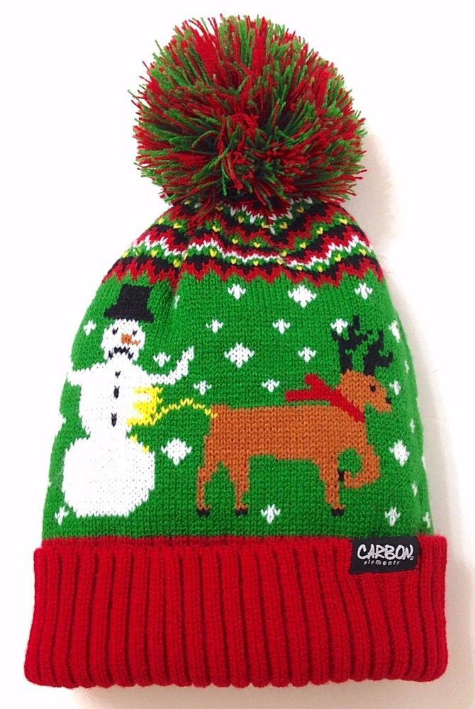 c5f1915ab9ee2 Funny REINDEER PEEING ON SNOWMAN POM BEANIE Winter Knit Christmas Ugly  Sweater  Carbon  Beanie