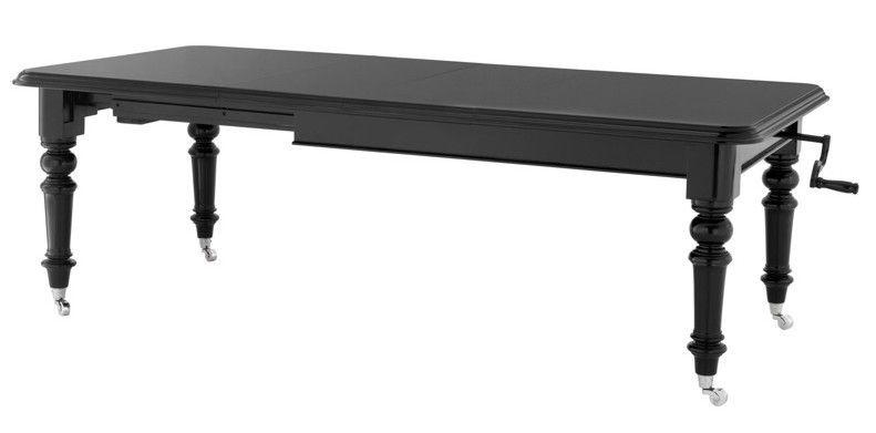 Englischer Antik Stil Esstisch Spindel Schwarz Klavierlack
