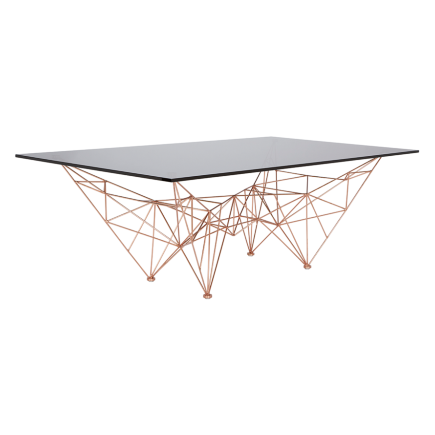 "TOM DIXON MATERIALS: COPPER-PLATED STEEL, GLASS DIMENSIONS:   29.5"" W x 53.1"" L x 17.7"" H  DESCRIPTION:   Inspired by bridges, towers and space frames, the Pylon collection is made of glass and lightweight plated steel. Available as a dining table, coffee table, small table and a coat stand. PRICE:      $3,100.00"