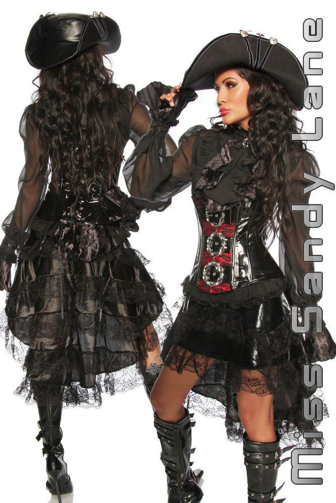 schwarz steampunk gothic spitze viktorian rock pirat karneval fasching in kleidung. Black Bedroom Furniture Sets. Home Design Ideas