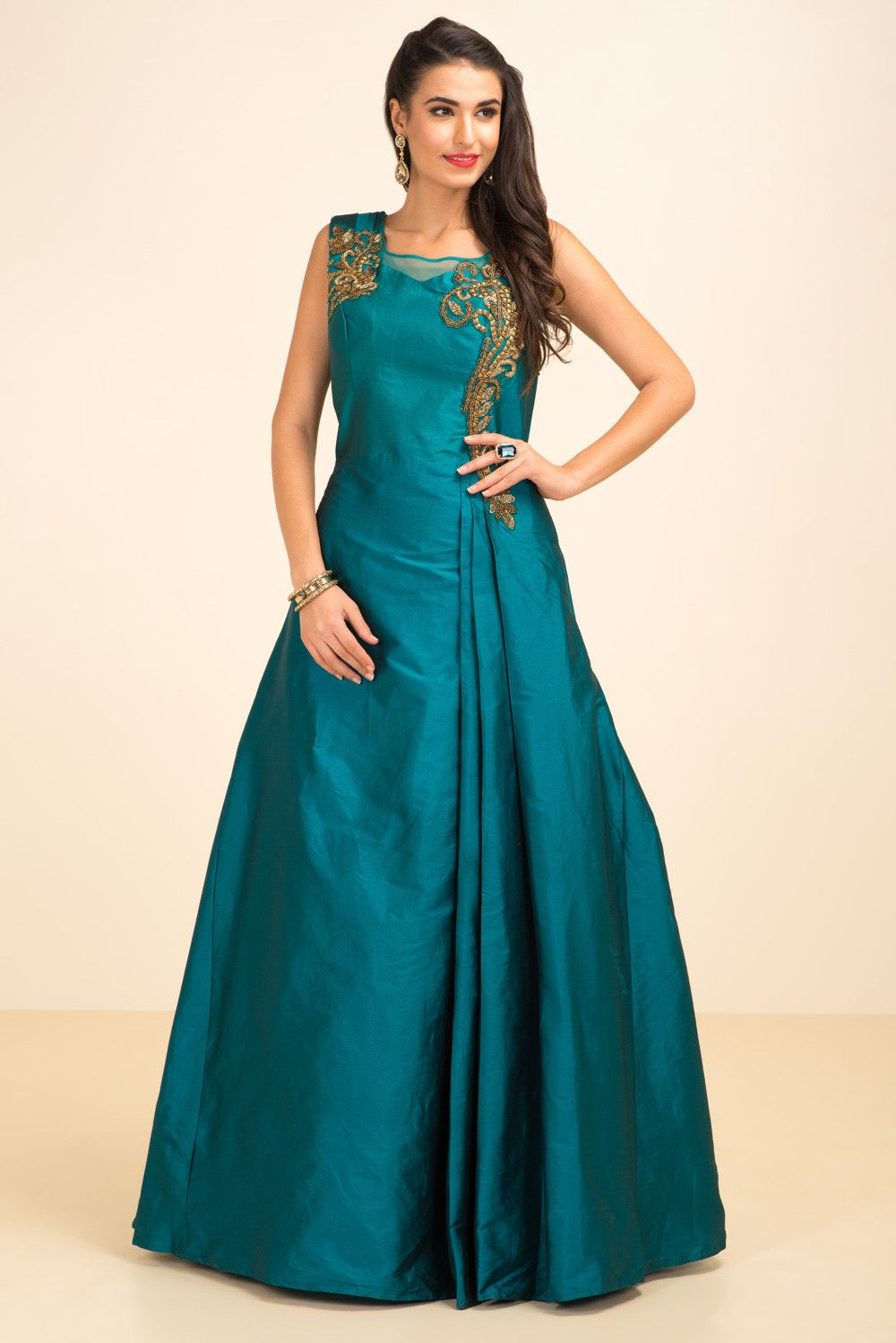 THE STYLE LOFT BY RITU DEORA Teal Green Embroidered Gown #flyrobe ...