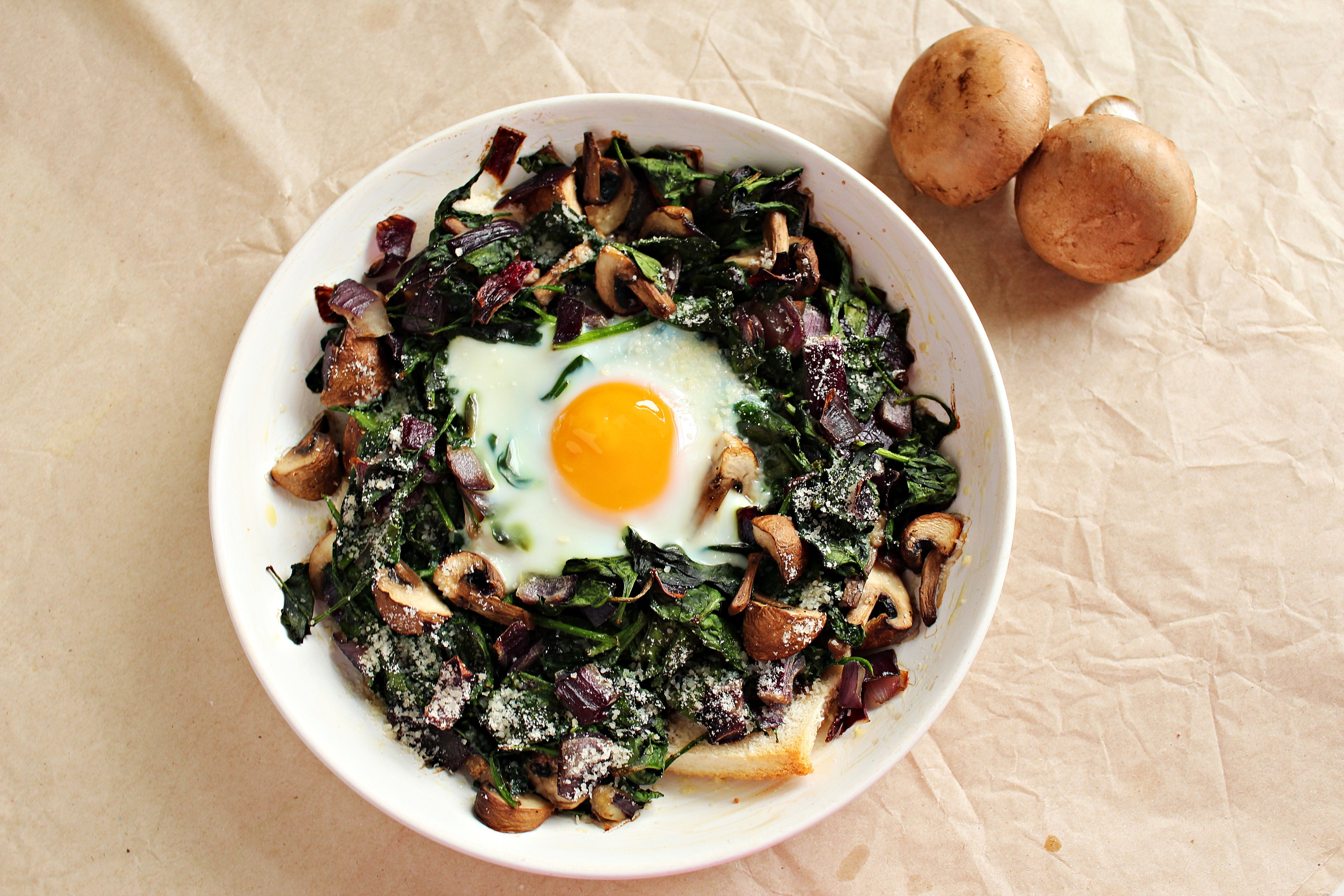 Baked Egg with Mushrooms and Spinach