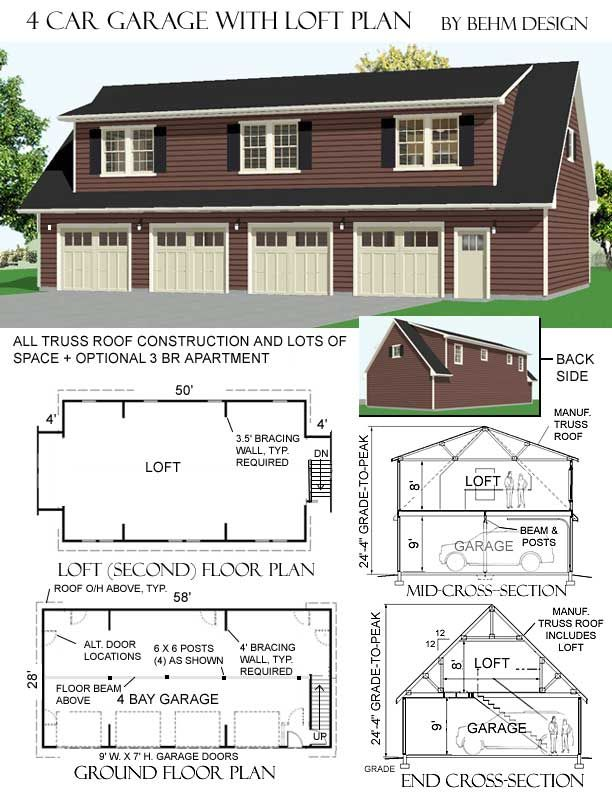 3068 5 58 X 28 4 Car Garage Plan With Loft By Behm Design Carriage House Plans Garage Plans Loft Plan