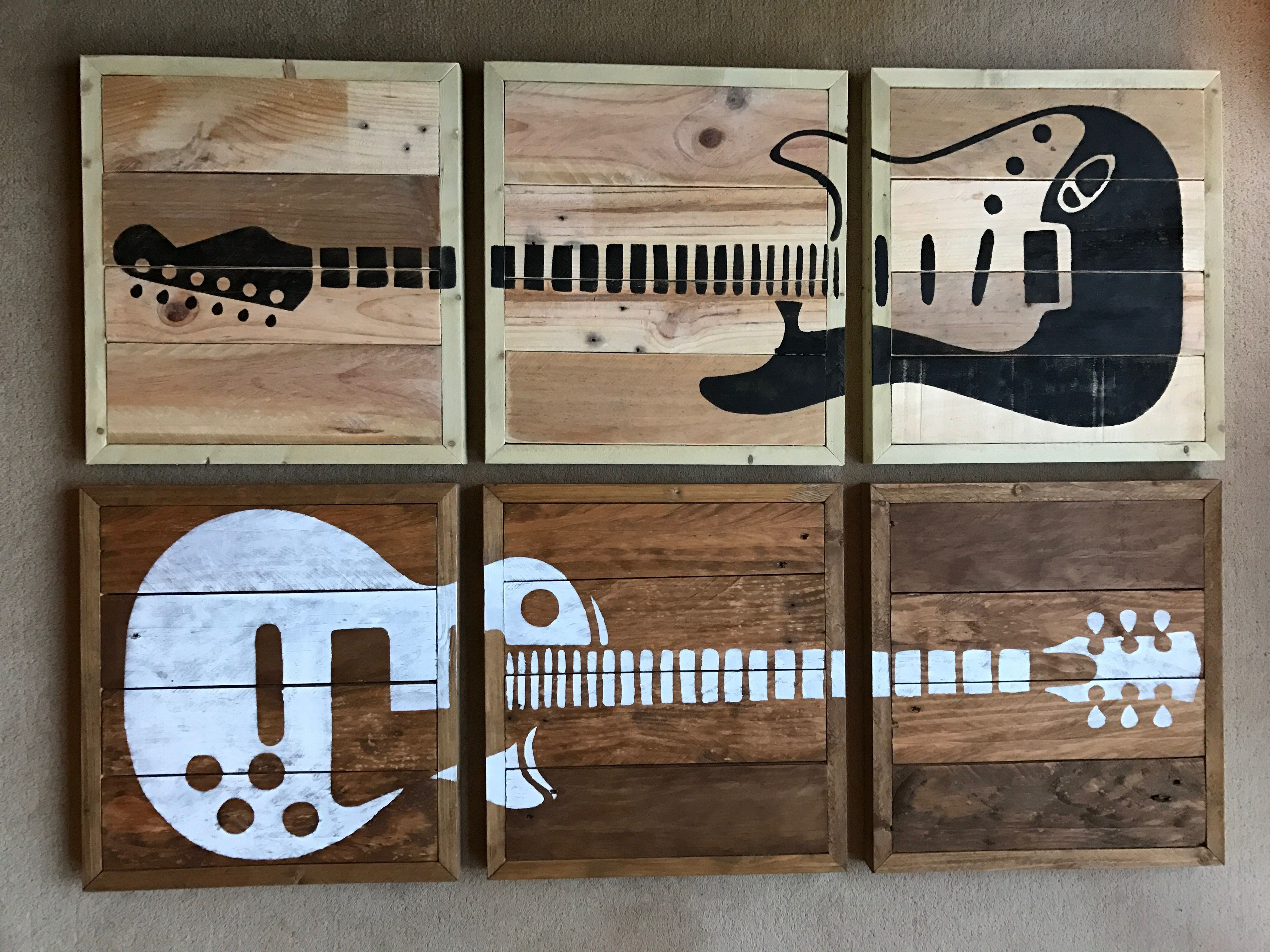 Charming 3 Piece Guitar Wall Art Hand Made From Rescued Wood. Full Size Outlines. Any