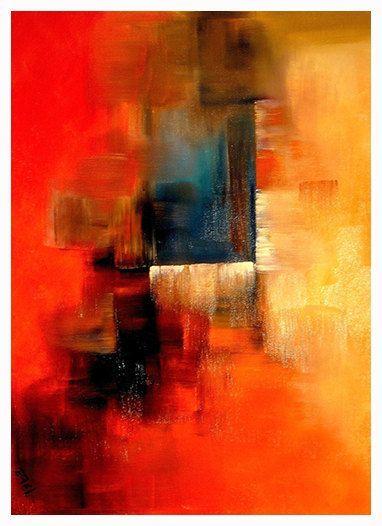 Leinwanddrucke und Kunstdrucke Farbenfroh Rot Blau Orange Abstrakter Kunstdruck Modern Elena #framesandborders