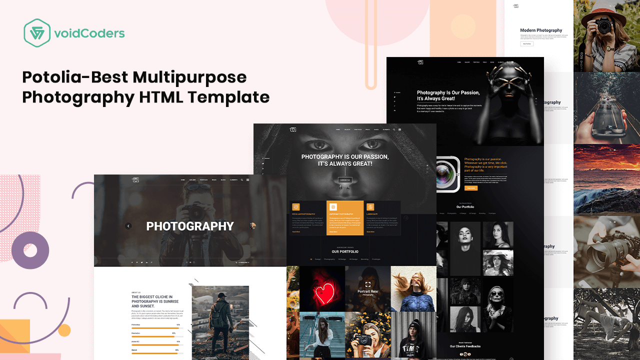 Potolia Best Multipurpose Photography Html Template With Images Photography Software Templates