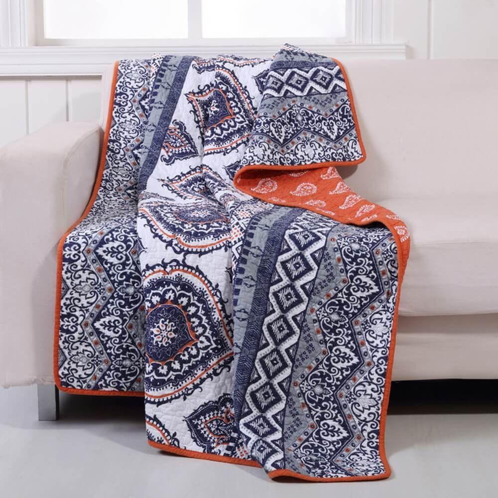 Moroccan Vintage Medallion Grey Orange Cotton Quilt Set | Cotton ... : quilt throw blanket - Adamdwight.com