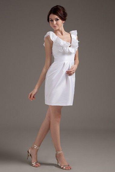 Taffeta V-Neckline Short Sheath Wedding Dress with Ruffle - Alice Bridal
