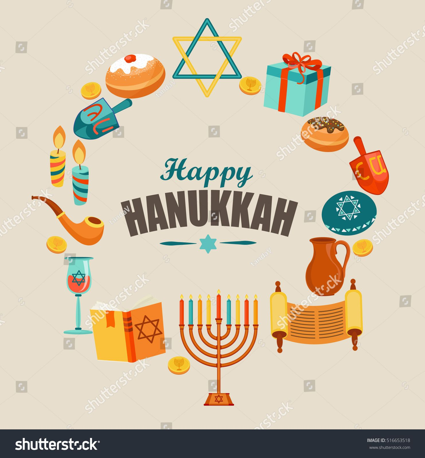 Happy Hanukkah Typography Card Template Banner Flyer Vector