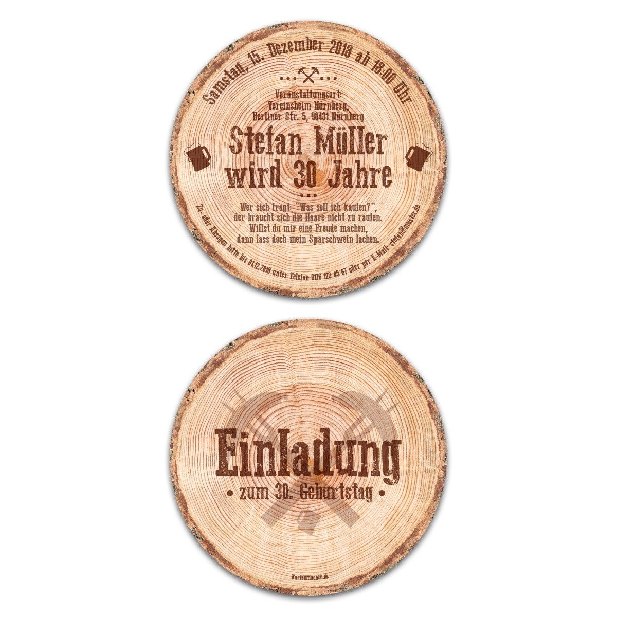 Baumscheibe Holzscheibe Rustikal Runde Einladungskarten Geburtstag 148 mm