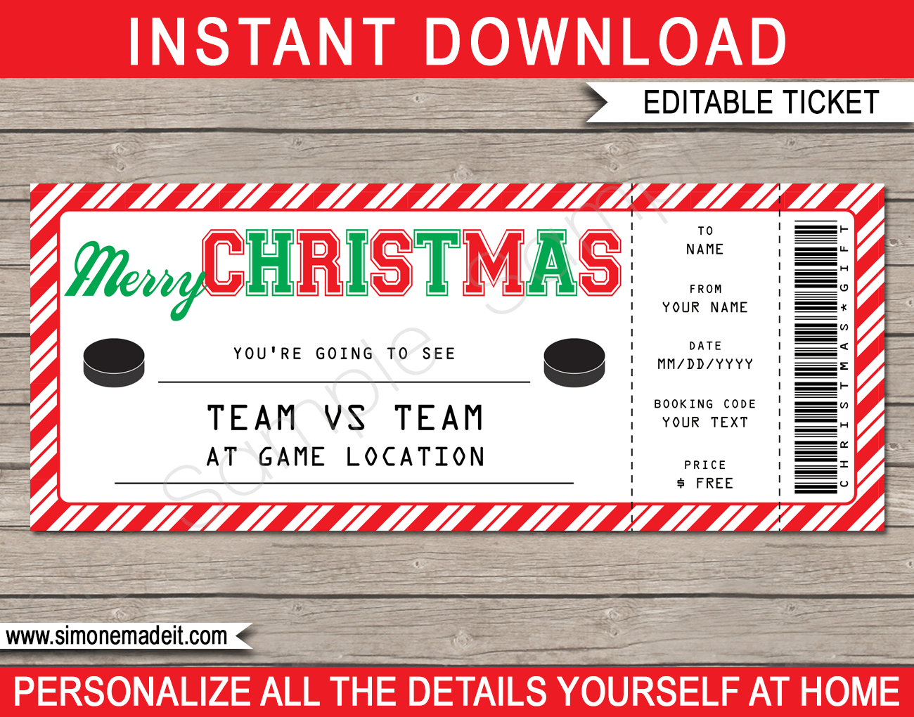 Christmas Hockey Ticket Gift Voucher Printable Hockey Ticket Template Gift Certificate Template Personalized Holiday Certificate Templates