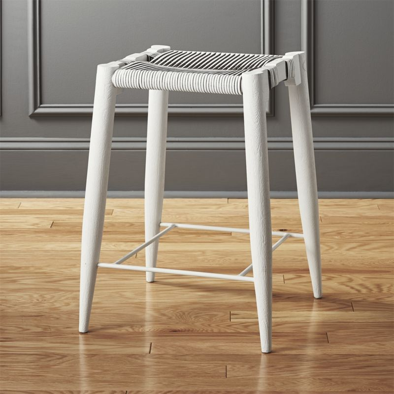 Shop Nahla White Leather Counter Stool 24 Quot Acacia Wood Frame