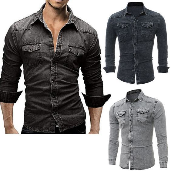 eb7257af66 2018 Fashion Men s Jeans Casual Slim Fit Stylish Wash-Vintage Denim Shirts  Tops