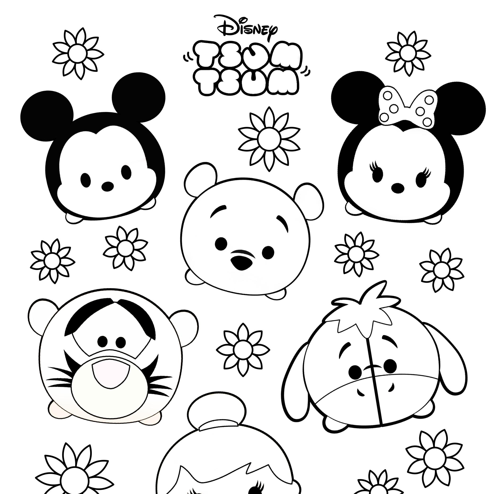 Tsum Tsum Colouring Sheets Free Printable Tsum Tsum Coloring Pages Disney Coloring Pages Cute Coloring Pages